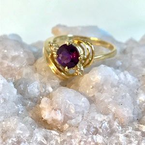 Jewelry - 14k Gold Amethyst And Diamond Ring